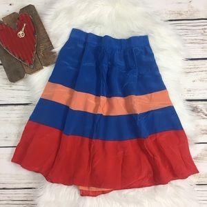 J Crew Silk A Line Skirt - Stripes Blue Orange